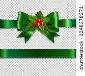 green ribbon bow with holly... | Shutterstock .eps vector #1248378271