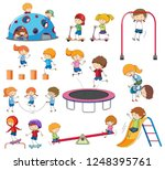 set of doodle kids playing... | Shutterstock .eps vector #1248395761