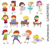 doodle kids character learning... | Shutterstock .eps vector #1248395851