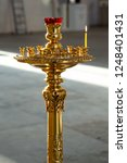 candles are in candlesticks in... | Shutterstock . vector #1248401431