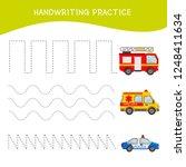 handwriting practice sheet.... | Shutterstock .eps vector #1248411634