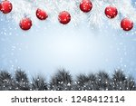 christmas snow background with... | Shutterstock .eps vector #1248412114