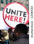 unite here protest sign | Shutterstock . vector #1248433