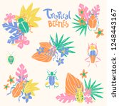 vector doodle set with big... | Shutterstock .eps vector #1248443167