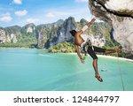 Adult Climbing Hard Overhangin...