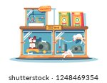 hotel for pets filled with dogs ... | Shutterstock .eps vector #1248469354