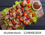 grilled pork shish or kebab on...   Shutterstock . vector #1248481834