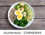 buddha bowl with quinoa   eggs  ... | Shutterstock . vector #1248483694