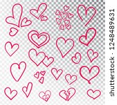 hearts hand drawn set isolated. ... | Shutterstock .eps vector #1248489631