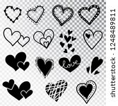 hearts hand drawn set isolated. ... | Shutterstock .eps vector #1248489811