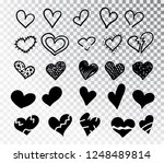 hearts hand drawn set isolated. ... | Shutterstock .eps vector #1248489814