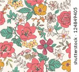 sketch flower seamless pattern... | Shutterstock .eps vector #124849405
