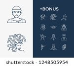 person icon set and king with...