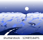 winter background with road and ... | Shutterstock .eps vector #1248516691