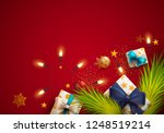 christmas greeting card. spruce ... | Shutterstock .eps vector #1248519214
