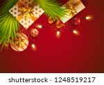 christmas greeting card. spruce ...   Shutterstock .eps vector #1248519217