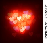 Blurred defocused lights background with hearts - stock vector