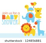 baby shower design. vector... | Shutterstock .eps vector #124856881