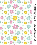 pattern with flowers and leaves....   Shutterstock . vector #1248608017