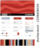 light blue  red vector ui ux...