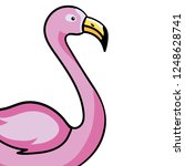 pink flamingo cartoon | Shutterstock .eps vector #1248628741