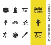 activity icons set with skier ...