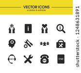 help icons set with suitcase...