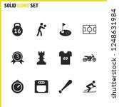 exercise icons set with t shirt ...