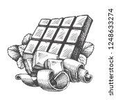 chocolate vector sketch hand... | Shutterstock .eps vector #1248633274