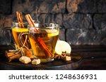autumn hot tea with lemon and... | Shutterstock . vector #1248636931