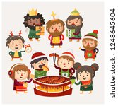 cartoon people at christmas... | Shutterstock .eps vector #1248645604