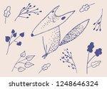 sitting fox illustration. pen... | Shutterstock .eps vector #1248646324