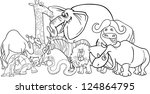 black and white cartoon... | Shutterstock . vector #124864795