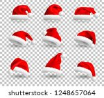 set of red santa claus hats... | Shutterstock . vector #1248657064