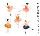 hand drawn set of ballerinas.... | Shutterstock .eps vector #1248667417