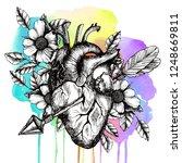 blooming broken human heart.... | Shutterstock . vector #1248669811