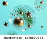 clear sphere gold ball and star ... | Shutterstock . vector #1248690361