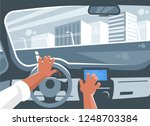 man driving a car. with one...   Shutterstock .eps vector #1248703384
