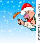cartoon pig in a hat santa... | Shutterstock .eps vector #1248706411