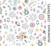 vector floral seamless pattern | Shutterstock .eps vector #1248706591