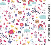 vector floral seamless pattern | Shutterstock .eps vector #1248706597