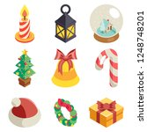 christmas isometric icons set... | Shutterstock . vector #1248748201