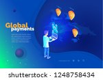 global payments. a man with a...   Shutterstock .eps vector #1248758434