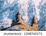 stepantsminda  gergeti  georgia.... | Shutterstock . vector #1248760171