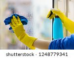 female hand in yellow gloves... | Shutterstock . vector #1248779341