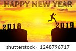 happy new year 2019 silhouette... | Shutterstock . vector #1248796717