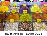 Spices on display on sale at market - stock photo