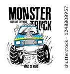 cartoon monster truck. vector... | Shutterstock .eps vector #1248808957