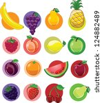 vegetables and fruits  vector... | Shutterstock .eps vector #124882489