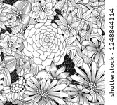 seamless pattern. coloring book ... | Shutterstock .eps vector #1248844114